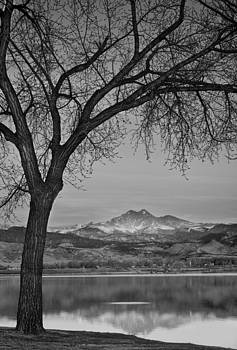 James BO  Insogna - Peaceful Early Morning Sunrise Longs Peak View BW