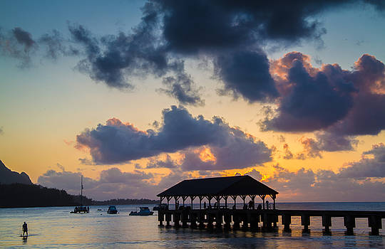 Peaceful Evening at Hanalei Pier by Roger Mullenhour