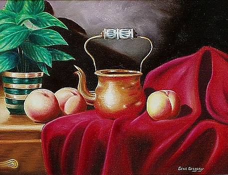 Peaches and pot by Gene Gregory