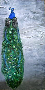 Peacock in Winter by LaVonne Hand