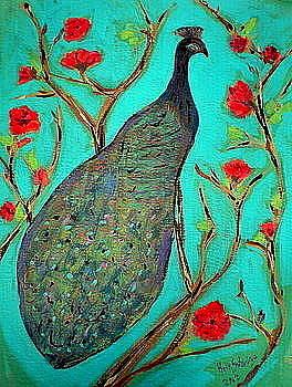 Peacock on Silk  by Beth Sebring