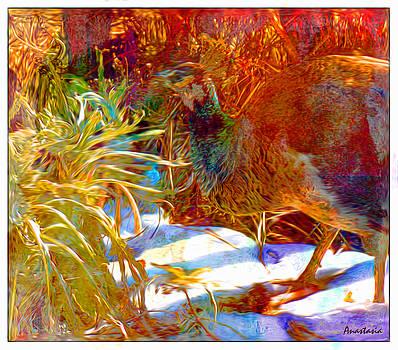 Peahen Eating Winter Garden Kale by Anastasia Savage Ealy