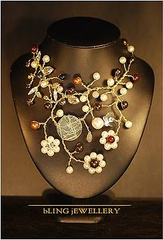 Pearl and Penny Wire Wrapped Crystal Necklace by Janine Antulov