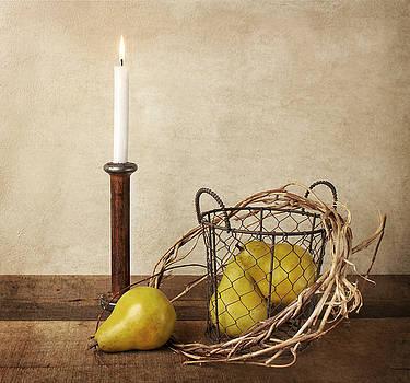 Pears in Wire Basket by Vicki McLead
