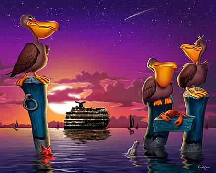 Pelicans On Poles At Sunset Tropical Cartoon Florida Seascape by Walt Curlee