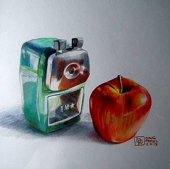 Pencil Sharpener and Apple by Bong Perez