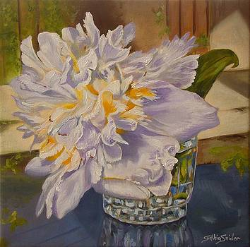 Peony In Glass by Cynthia Snider