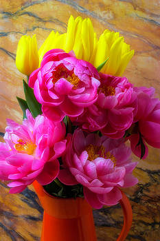Peony's And Tulips In Pitcher by Garry Gay