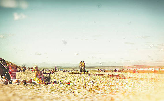 People on the beach by Patricia Hofmeester