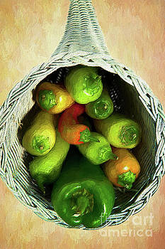 Peppers in a Horn of Plenty Basket AP by Dan Carmichael