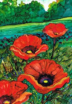 Perky poppies by Val Stokes