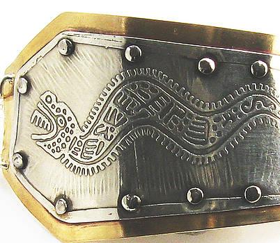 Peruvian Serpent Etched Silver Bracelet by Virginia Vivier