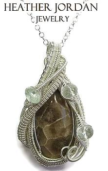 Petoskey Stone Wire-Wrapped Pendant in Tarnish-Resistant Sterling Silver with Aquamarine- PSPSS5 by Heather Jordan