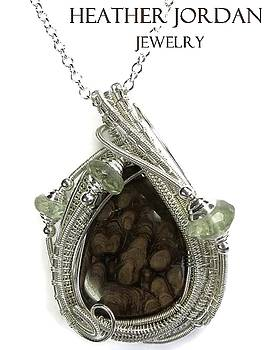 Petrified Algae and Tarnish-Resistant Sterling Silver Wire-Wrapped Pendant with Prasiolite - PTASS2 by Heather Jordan