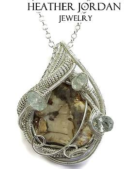 Petrified Wood Wire-Wrapped Pendant in Sterling Silver with Aquamarine and Chain - PTWSS2 by Heather Jordan