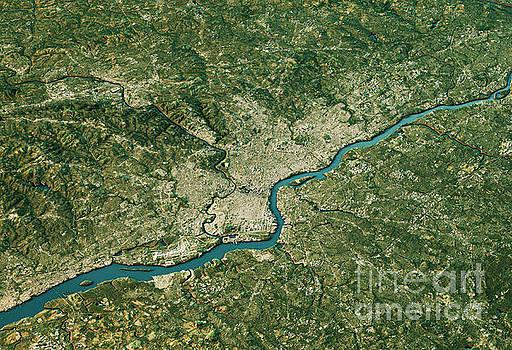 Philadelphia 3D Landscape View South-North Natural Color by Frank Ramspott