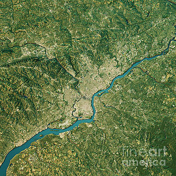 Philadelphia Topographic Map Natural Color Top View by Frank Ramspott