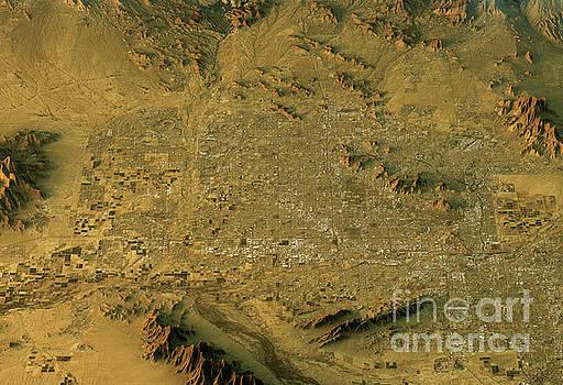 Phoenix 3D Landscape View South-North Natural Color by Frank Ramspott