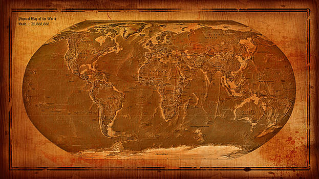 Physical Map of the World Antique Style by Theodora Brown