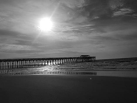 Pier at Myrtle Beach in Black and White by Kelly Hazel