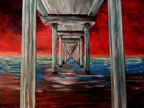Pier Red Sky At Night by Irving Starr
