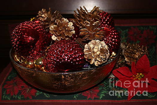 Pinecones in Red and Gold by Dora Sofia Caputo Photographic Art and Design