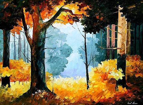 Pine Wood - PALETTE KNIFE Oil Painting On Canvas By Leonid Afremov by Leonid Afremov