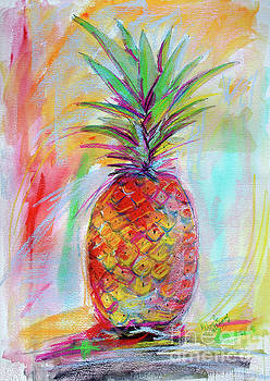 Ginette Callaway - Pineapple Mixed Media Painting