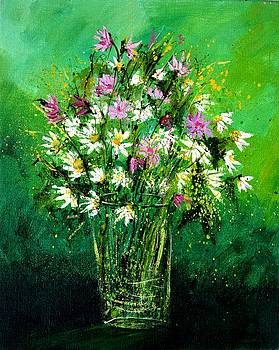 Pink anw white wild flowers by Pol Ledent
