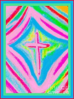 Pink Christian Cross by Shirley Moravec