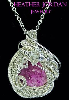 Pink Cobaltoan Calcite Druzy and Sterling Silver Wire-Wrapped Pendant with Herkimer Diamonds - 5 by Heather Jordan
