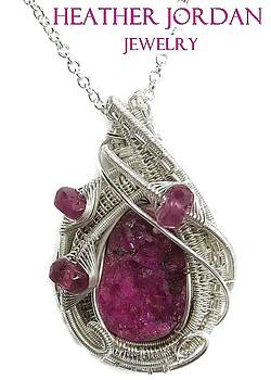 Pink Cobaltoan Calcite Druzy and Sterling Silver Wire-Wrapped Pendant with Pink Sapphire - CoCaPSS4 by Heather Jordan