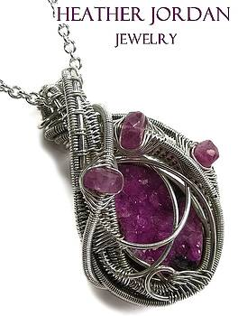 Pink Cobaltoan Calcite Druzy and Sterling Silver Wire-Wrapped Pendant with Pink Tourmaline -CoCaPSS7 by Heather Jordan