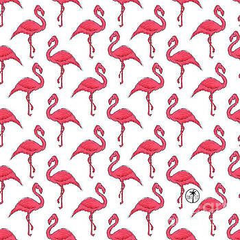 Pink Flamingo Pattern Design Fun Tropical Coastal Art from Sunnie Tees by Megan Duncanson