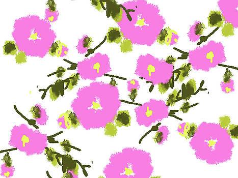 Pink Flower Dots by Go Van Kampen