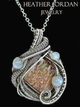 Pink Fossilized Dinosaur Bone Pendant in Antiqued Sterling Silver with Rainbow Moonstone and Chain  by Heather Jordan