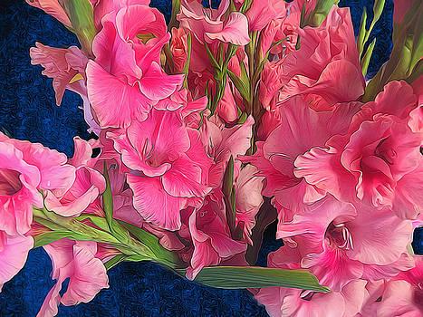 Cindy Boyd - Pink Gladiolus on Blue