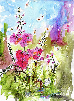 Ginette Callaway - Pink Lavatera Watercolor Painting by Ginette