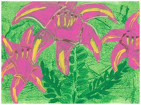 Pink Lilies by Rosemary Mazzulla