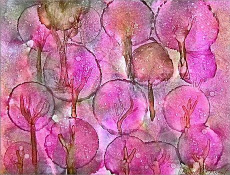 Pink Lollipop Trees Alcohol Inks by Danielle  Parent