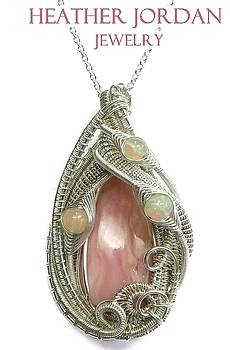 Pink Peruvian Opal Pendant in Tarnish-Resistant Sterling Silver with Ethiopian Welo Opals - PPOSS5 by Heather Jordan