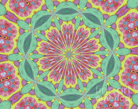 Pink Red Green Floral by Shirley Moravec