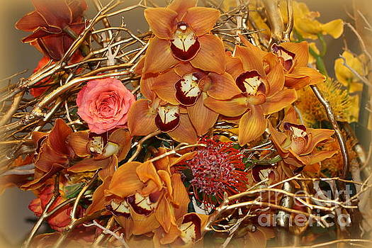 Pink Rose and Yellow Orchids by Dora Sofia Caputo Photographic Art and Design