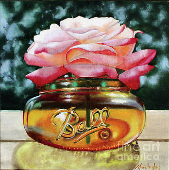 Pink Rose in Ball Jar by Mary Hughes