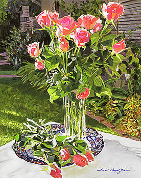Pink Roses In Glass by David Lloyd Glover