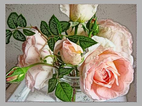 Pink Roses in Glass by Gretchen Wrede