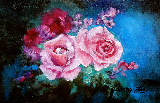 Pink Roses on Blue by Jenny Lee