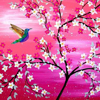 Pink Sakura and Hummingbird by Cathy Jacobs