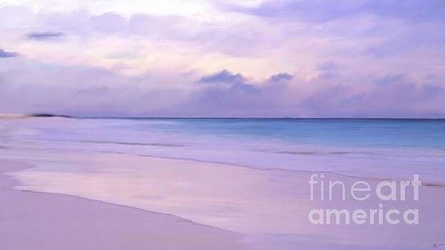 Pink sand purple clouds beach by Anthony Fishburne