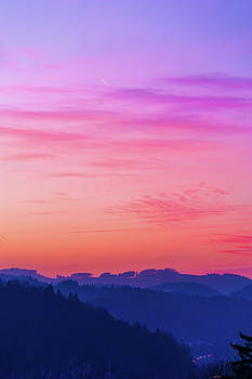 Pink Sky over Blue Mountains by Jenny Rainbow